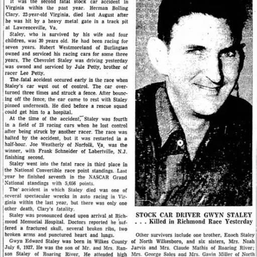1958 Richmond Staley 032358BurlingtonDailyTimesNews.png