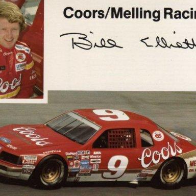 Bill Elliott/Harry Melling Ford Thunderbird (post card handout)