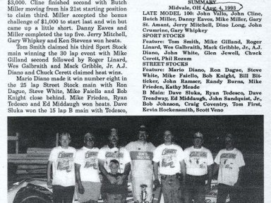 Feature Win (#235), Ohio Invite 100 Lap, Midvale Speedway, Aug 4, 1993