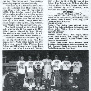 Feature Win (#235), Ohio Invite 100 Lap, Midvale Speedway, Aug 4, 1993