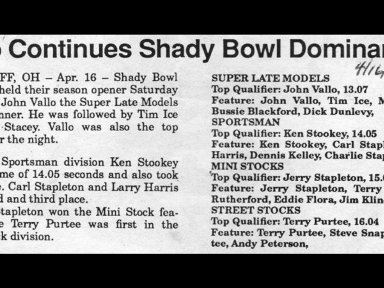 Feature Win (#143), Shadybowl Speedway (Opener), April 16, 1988