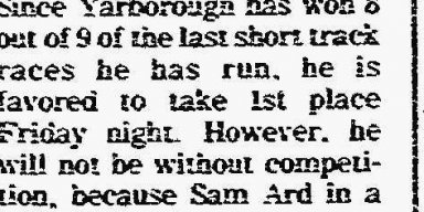 Bulington Times June 2, 1977  Cale In Friday race at Trico