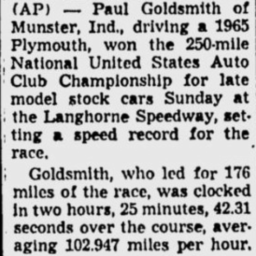 1965 Langhorne USAC Goldsmith 102565PittsburghPG.png