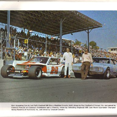 Paul Radford and Sonny Hutchins best appearing cars oct 72 martinsville