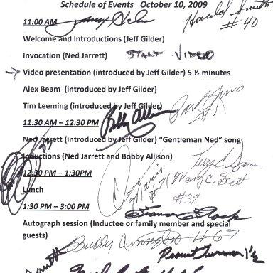 Racers Reunion Memory Lane Oct 10 2009 Autographs