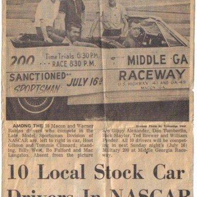 Middle Ga. Raceway NASCAR Drivers.