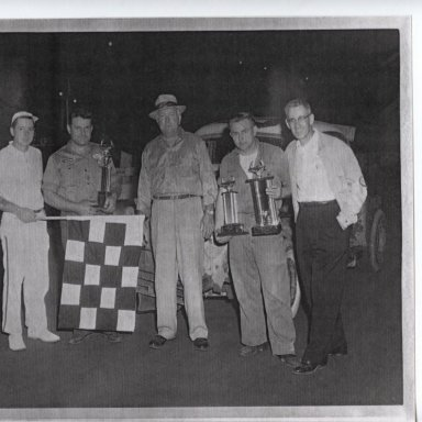 George Janoski and Don Rounds recieving hardware for their 1959 Championships at Stafford Springs Ct.