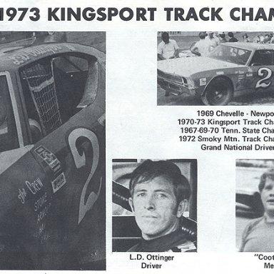 1973 Track Champ-Kingsport Speedway -LD Ottinger