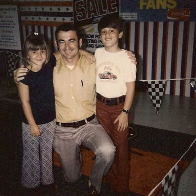 My sister and I with Bobby Allison at Sears in Florence, SC (approx. 1973)