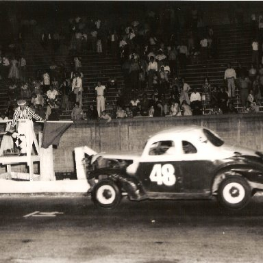 Ralph Harpe winning at Bowman Gray date unk. This car is demolished in a wreck at N. Wilkesboro the next day.