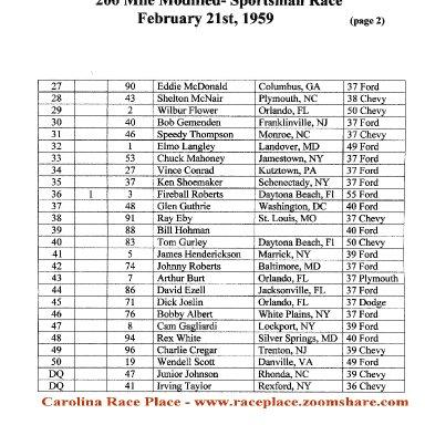 1959 Daytona Results M-S, page 2
