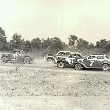 35 Cale Yarborough (1st Race Car), 20 H. C. Pritchard, 26 Earnest Nicks, 7 Lucius Keels - Bethel 1956