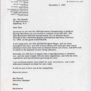 Letter from NASCAR 12/1/1959