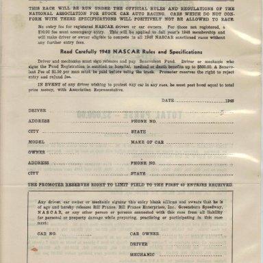 1948 NASCAR Entry Blank Back #2