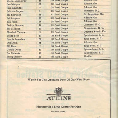 First Martinsville Speedway Program Entry List Page 1