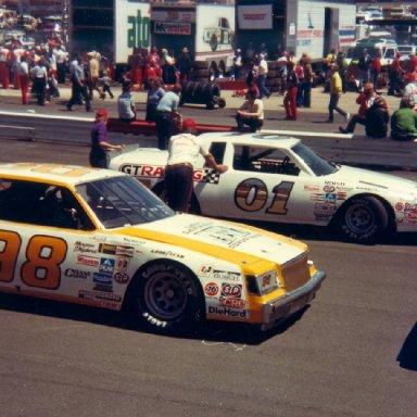 Butch Lindley 01 and Morgan Shepherd 98 at Wilkesboro April 18, 1982