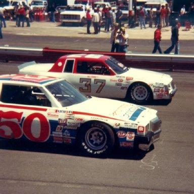 Neil Bonnett 37 and Geoff Bodine 50 at Wilkesboro April 18, 1982