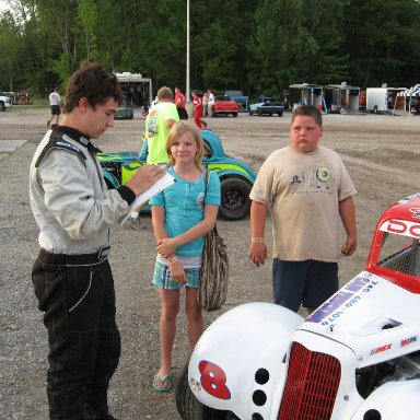 Signing an autograph Lorain Speedway