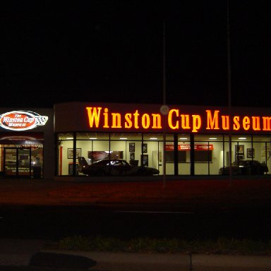 The museum at night.