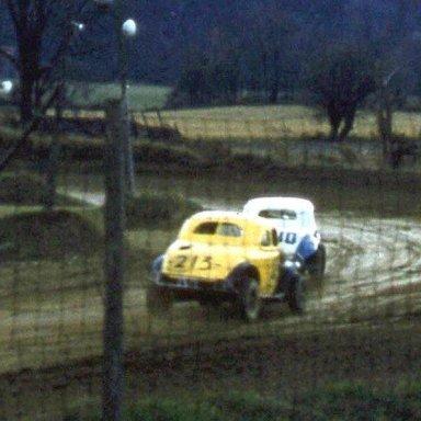 Stateline Speedway 1957 Bill Wimble(213) chasing Cliff Kotary(10-10)