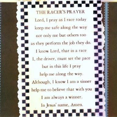 A RACERS PRAYER