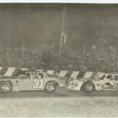 Gary Balough leads Dick Trickle on his way to winning the 1978 Marion Edwards_ Jr_ Memorial _Bobby 5X5 Day Photo_