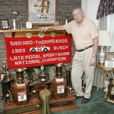 Sam with his LMS championship trophies