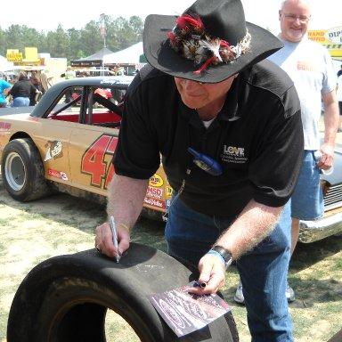 Tim Leeming Signing Tire