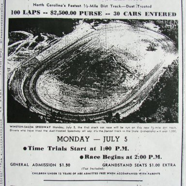 Peace Haven Speedway Opening Ad - 1948