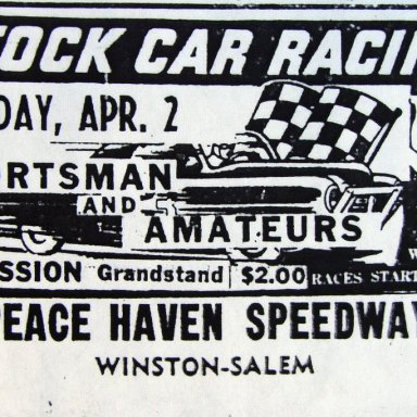 Peace Haven Speedway Ad - 1956