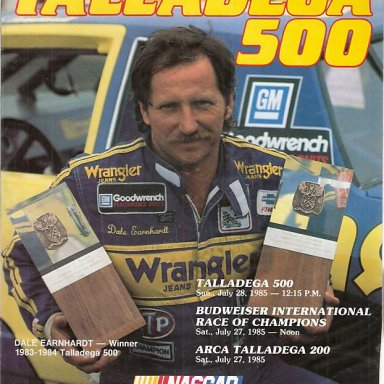 1985 Dale Earnhardt Program