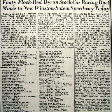 Peace Haven Speedway - Nascar 1948 Race 51 of 52 - Fonty Flock vs Red Byron