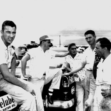 Left to Right - Bill Myers, Junior Johnson, Fred Johnson, Gwyn Staley - Could use some help on the gentleman on the right