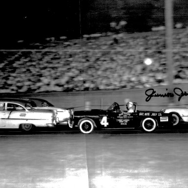 Left to right - Jim Reed, Lee Petty, Bill Myers & Junior Johnson at Bowman Gray International Sedan race 1955