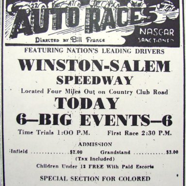 Peace Haven Speedway - 1949 Ad
