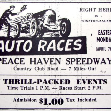 Peace Haven Speedway - 1947 Ad