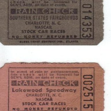 Southern States Fairgrounds And Lakewood Speedway Ticket Stubs