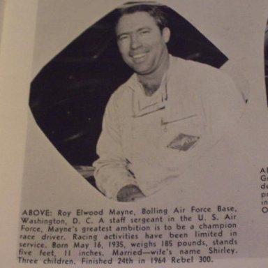 #4 Roy Elwood Mayne - (later issue) 1966 NASCAR Magazine and Auto Race Program