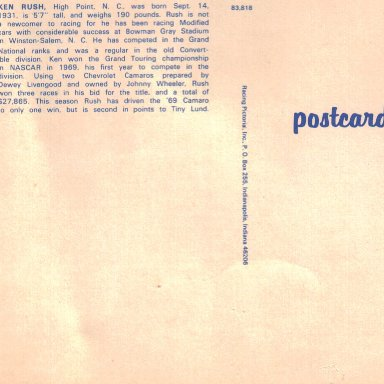 Back of Ken Rush postcard