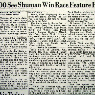 Peace Haven Speedway - Buddy Shuman 1950