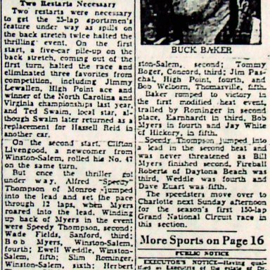 Peace Haven Speedway - Buck Baker 1951