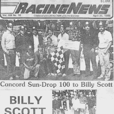 CONCORD SPEEDWAY HONORS TO BILLY SCOTT