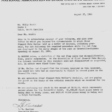 Letter to Billy Scott From Len Kuchler - NASCAR