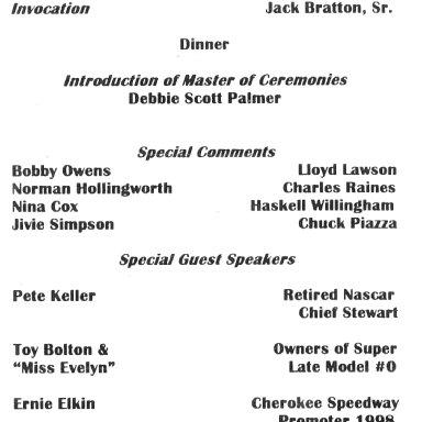 Billy Scott Banquet Agenda