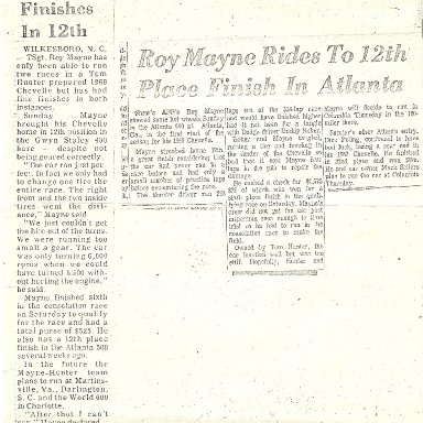 Roy Mayne 12th place in Atlanta