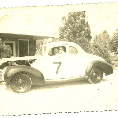 Hugh T. Lanford sitting in car #7 at his home, Charlotte Hywy. Spartanburg, SC.