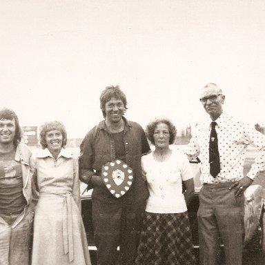 Conrad Self, Lilly Barnes & dave Smith (others unknown). Harry Barnes memorial race organised by the Great Yarmouth Stock car Racing club
