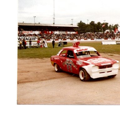NHR leaving the track, post race award, at Ipswich