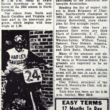 Peace Haven Speedway - Buck Brigance 1954