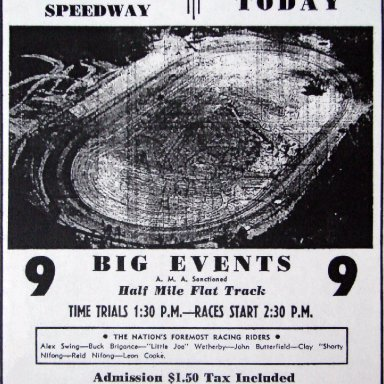 Peace Haven Speedway - Motorcycle Race Ad 1948
